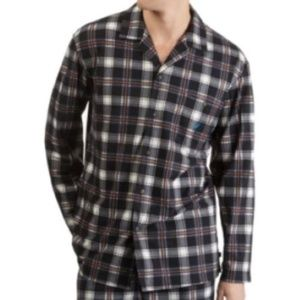 Nautica Mens Cozy Fleece Plaid Pajama Camp Shirt M